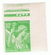 80c Iris Yvert 649, Non Dentelé Haut De Feuille, ** - 1939-44 Iris