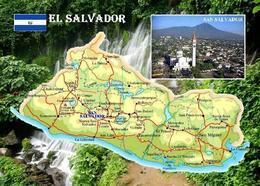 El Salvador Country Map New Postcard Landkarte AK - El Salvador