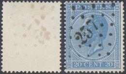 """émission 1865 - N°18 Obl Pt 257 """"Mouscron"""" - 1865-1866 Perfil Izquierdo"""