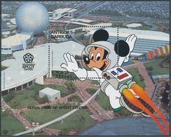 Antigua & Barbuda - 1988 - Disney: Mickey, Aerial View Of Epcot Center - Yv Bf 140 - Disney
