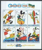Antigua & Barbuda - 1999 - Disney: Michey, Surfing The Wave - Yv  2467/72 - Disney
