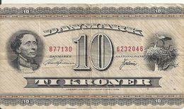 DANEMARK 10 KRONER 1954-74 VG++ P 44 - Denemarken