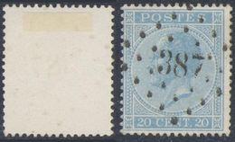 """émission 1865 - N°18 Obl Pt 387 """"Walcourt"""" - 1865-1866 Profil Gauche"""