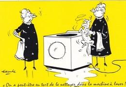 """CARTE FANTAISIE  ILLUSTRATION  ALEXANDRE. SÉRIE FOFOLLES """"  ON A PEUT ETRE TORT DE LE NETTOYER DANS LA MACHINE..."""" - Alexandre"""