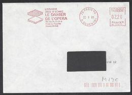 Chess, France Paris 1988, Chess Library 'Le Damier De L'Opera' Red Meter Cancel On Envelope - Echecs