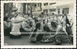 40s REAL PHOTO POSTCARD STREET SCENE WALK VENDOR MARKET SAIGON VIET NAM VIETNAM ASIA - China (Hong Kong)
