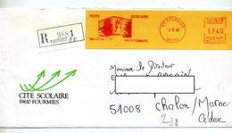 Lettre Recommandée  Flamme Ema Fourmies Cite Scolaire - Marcophilie (Lettres)