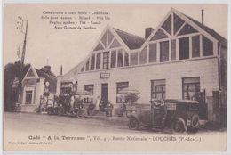 62 LOUCHES - Café A La Terrasse Garage Pompe à Essence Moto Automobile - Francia