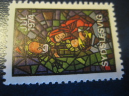 SYDSLESVIG 1974 Stained Glass Windows Jul Julen Christmas Poster Stamp Vignette DENMARK Label - Danemark