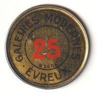 Rare Timbre-monnaie Galeries Modernes Evreux 25c Bleu Sur Fond Jaune - Monetary / Of Necessity