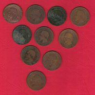 Monnaie Française 10 Centimes Napoléon III Tête Nue Par Barre Lot De 10 Pièces Combinaisons Différentes Dont 1854K 1857B - Francia