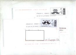 Lettre  Flamme Chiffrée Sous Code Symbole Inegalite Sur Timbre En Ligne Moustache - Marcophilie (Lettres)