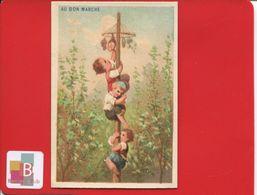 Au Bon Marché Paris Joli Chromo Testu Massin Enfants Jeu Mât De Cocagne 1880 - Au Bon Marché