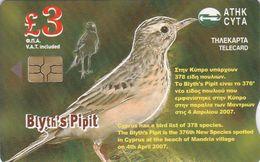 Cyprus, CYP-C-165, 0407CY, New Bird Species In Cyprus, Blyth's Pipit, 2 Scans. - Cyprus