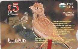 Cyprus, CYP-C-166, 0507CY, New Bird Species In Cyprus, Dunn Lark, Mint In Blister, 2 Scans. - Cyprus