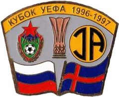 "Badge Pin: UEFA CUP 1996-97 "" PFC CSKA Moskva "" Russia  - "" IA Akranes "" Iceland - Fútbol"