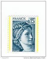 Sabine 0.15fr Bleu Vert YT 1966 Avec Deux Bandes De Phosphore (Demi Bandes) . Voir Scan . Maury N° 1966a :  25 € . - Variedades Y Curiosidades