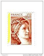 Sabine 0.60fr Brun Rose YT 2119 Avec Bande De Phosphore à Gauche . Pas Courant , Voir Le Scan . Maury N° 2124a : 6 € . - Varietà: 1980-89 Nuovi