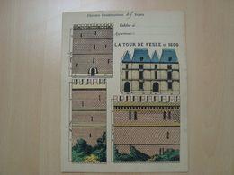 PROTEGE-CAHIER CHROMO CONSTRUCTION LA TOUR DE NESLE EN 1600 - Book Covers