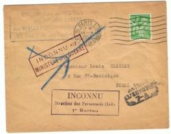 80c Iris Yvert 649 OMEC Paris 1 Avec Divers Cachets 'Retour à L'envoyeur, Inconnu...', Lettre De 1945 - 1939-44 Iris