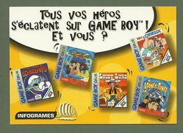 CARTE POSTALE TOUS VOS HEROS S ECLATENT SUR GAME BOY SCHTROUMPFS LUCKY LUKE ASTERIX OBELIX LOONEY TUNES - Comics