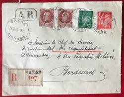 France Entier N°433-E1 + N°508 Et 517 (x2), Recommandée De BAZAS Pour Bordeaux 1942 (Service Réquisitions) - (B3450) - Entiers Postaux