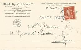 13 - MARSEILLE - Carte Commerciale Timbres Perforés - Sibert . Ripper Frères & Cie - Produits Chimiq. Pharma Et Drogues. - Autres