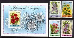 BARBUDA - 1978 FLOWERS SET (4V) & MS FINE MNH ** SG 428-431, MS432 - Barbuda (...-1981)