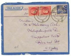 4f Iris Yvert 656 Avec Deux Cérès De Mazelin Sur Lettre, Timbres Oblitérés En Inde En 1946 - 1939-44 Iris