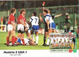 36676. Tarjeta Maxima SIERRA LEONE 1990. Mundial FUTBOL Football Italia. Equip AUSTRIA - USA - Fußball-Weltmeisterschaft
