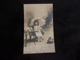 782.L ' Enfant à L' Ombrelle . Tortue . Dinette D'enfant. Belle Carte Photo Avant 1903.Voir 2 Scans . - Other
