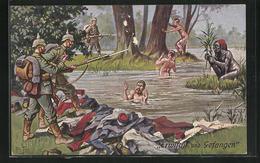 Künstler-AK Arthur Thiele: Erwischt Und Gefangen, Deutsche Soldaten Erwischen Französische Beim Bade - War 1914-18