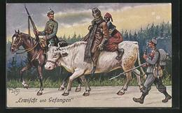 Künstler-AK Arthur Thiele: Erwischt Und Gefangen, Deutsche Soldaten Mit Auf Einer Kuh Reitenden Kriegsgefangenen - War 1914-18