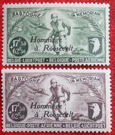 Hommage à Roosevelt Luchtpost Poste Aérienne 1946 OBP PA/LP 12-13 PR81-PR82 (Mi 758-759) POSTFRIS MNH ** BELGIE BELGIUM - Poste Aérienne