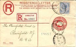 1920- Registered Cover  E P 2 P. + Compl. 2 1/2 Pence  To  U.S.A. - Gibraltar