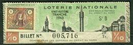 """France Lille """" Loterie Nationale Credit Du Nord """" 28. Tranche 1943 Avec Timbre Fiscaux - Billetes De Lotería"""