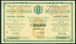 """BELGIEN Belgie Belgique """" Loterie Coloniale / Koloniale Loterij """" 8.snede/tranche 1934-36 E - Billets De Loterie"""