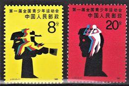 CHINE 1985  Sports      Course, Basket    Premiers Jeux Nationaux Pour Les Jeunes  (2-2) - 1949 - ... People's Republic