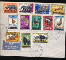 KATANGA ANIMALS COMPLETE  SET ON UNCIRCULATED COVER KOLWEZI D 06.10.60 - Katanga