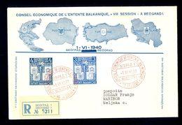 YUGOSLAVIA - Envelope For Occasion Of 'Conseil Economique De L'entente Balkanique', With Commemorative Cancels And Stamp - Yugoslavia