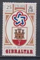 Gibraltar N° 337 X  Bicentenaire De L'Indépendance Des Etats-Unis  Trace De  Charnière Sinon TB - Gibraltar