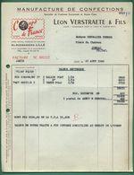 59 Lille Verstratete Léon Manufacture De Confections ( Logo Ballon Coupe De France Football ) 1958 - Vestiario & Tessile