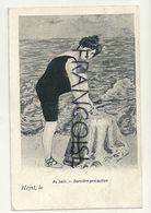 Baigneuse. Au Bain. Dernière Précaution. Heyst, Le  . Signée Xavier Sager. 1908 - Sager, Xavier