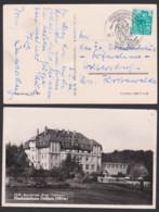 """Friedrichsbrunn über Gernrode (Harz) SoSt. Mit Wanderer, Skifahrer, 4.5.60, Photokarte FDGB-Sanatorium """"Ernst Thälmann"""" - Marcofilia - EMA ( Maquina De Huellas A Franquear)"""