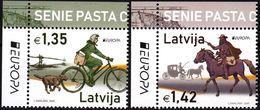 LATVIA 2020-05 EUROPA: Ancient Postal Routes. Horse Bicycle Dog. UL CORNER, MNH - Europa-CEPT