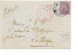 """SH 0536. N° 140 Obl. FIELD POST OFFICE - 24 MY 16 + Censure Britannique """"385"""" S/L V. Légation De Belgique/La Haye.TB - Guerra '14-'18"""