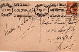 Foire Coloniale De Bordeaux 1934 - Flamme - Marcophilie (Lettres)