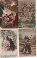 """Lot De 4 Cartes ' Fantaisie """" , 3 écrites . - Guerre 1914-18"""