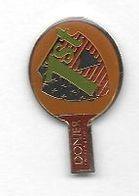 Pin's  Fond  Marron  Sport  TENNIS  DE  TABLE, Marque  DONIER  INTERNATIONAL  1 ST - Tennis De Table