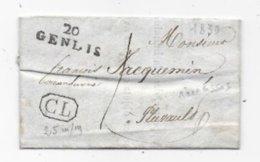 Département De COTE D'OR Marque Postale 20 / GENLIS Et  Griffe CL Sur Lettre Locale De Longecourt 1830 - 1801-1848: Precursors XIX